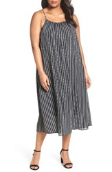 Sejour Plus Size Women's Cross Back Chiffon Slipdress Black Texture Stripe