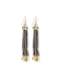Lulu Frost Beaded Metallic Tassel Drop Earrings Silver