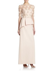 Teri Jon By Rickie Freeman Embellished Lace Peplum Gown Champagne