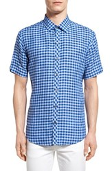 Men's Zachary Prell 'Haruta' Trim Fit Short Sleeve Gingham Linen Sport Shirt
