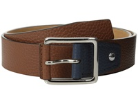 Cole Haan 35Mm Flat Stitch Strap Pebble Leather Pop Color Tab British Tan Navy Men's Belts Brown
