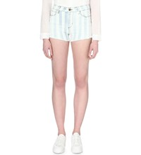 Guess X A Ap Rocky 1981 Stretch Denim Shorts Bold Stripe Wash