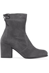 Stuart Weitzman Shorty Stretch Suede Ankle Boots Gray