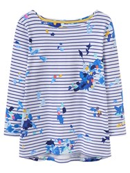 Joules Harbour 3 4 Sleeve Printed Jersey Top Blue Floral Stripe