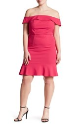 Abs By Allen Schwartz Off The Shoulder Scuba Dress Plus Size Red