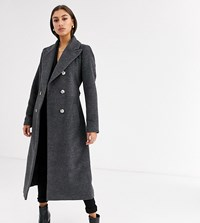 Glamorous Tall Double Breasted Coat With Tie Waist Grey