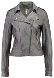 Freaky Nation Blow Away Leather Jacket Granite Grey