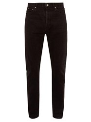 Saint Laurent Washed Cotton Slim Leg Jeans Black