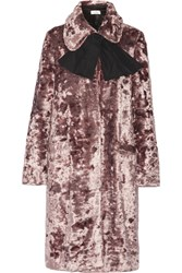 Isa Arfen Crushed Velvet Coat Lilac