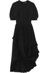 Simone Rocha Ruffled Silk Crepe De Chine Dress Black