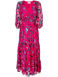 Tanya Taylor Dulce Floral Tiered Dress Pink