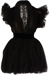 Ronald Van Der Kemp Tutu Lace Paneled Ruffled Tulle Mini Dress Black