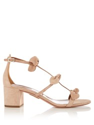 Aquazzura St. Tropez Bow Embellished Suede Sandals Beige