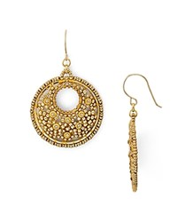 Miguel Ases Beaded Circle Drop Earrings Gold