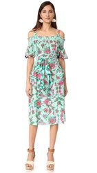 Tanya Taylor Mosaic Floral Amber Dress Mint Multi