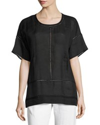 Vince Lace Inset Woven Tee Black