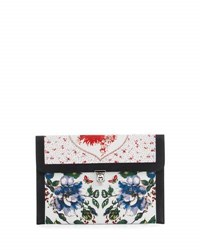 Alexander Mcqueen Floral Print Leather Skull Clutch Bag Multi