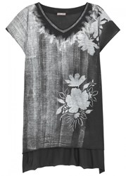 High Gesso Charcoal Stencil Print Cotton T Shirt Grey