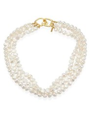 Kenneth Jay Lane 6Mm White Baroque Cultured Freshwater Pearl Multi Strand Necklace Ivory