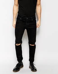 Asos Skinny Jeans With Extreme Rips Black