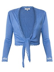 East Linen Tie Front Cover Up Cardigan Cornflower