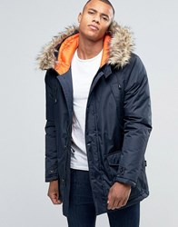 D Struct Faux Fur Trimmed Parka Jacket Navy