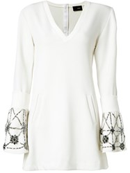 Andrea Bogosian Embroidered Flare Dress White