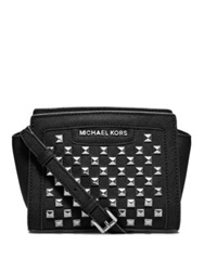 Michael Michael Kors Selma Studded Saffiano Leather Mini Messenger Bag Black