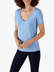 Pure Collection Jersey V Neck Short Sleeve Top Bluebell