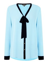 Biba Tie Detail Button Up Blouse Blue