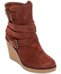 Bcbgeneration Finland Wedge Ankle Booties Women's Shoes Brown