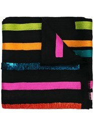 Janavi Striped Cashmere Scarf Black