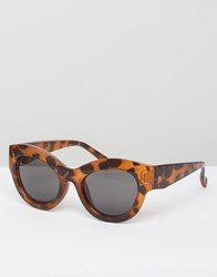 Cheap Monday Cat Eye Sunglasses In Tortoise Print Brown