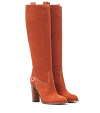 Etro Suede Knee High Boots Brown