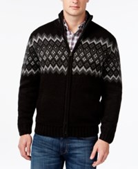 Weatherproof Diamond Jacquard Sherpa Lined Full Zip Mock Neck Sweater Black