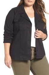 Lucky Brand Plus Size Women's Cropped Military Jacket Lucky Black