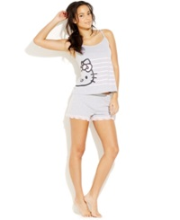 Hello Kitty Camisole And Lace Trim Boxer Shorts Grey