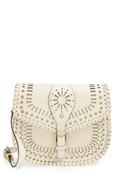 Sole Society 'Kianna' Perforated Faux Leather Crossbody Bag Ivory