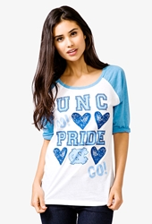 Forever 21 University Of North Carolina Baseball Tee White Blue