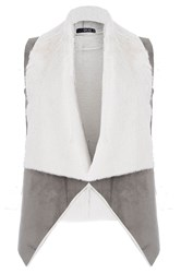 Quiz Grey And Cream Faux Suede Gilet