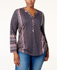 Styleandco. Style Co. Plus Size Printed Peasant Blouse Only At Macy's Folk Raspberry