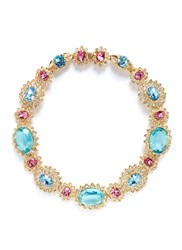 Kenneth Jay Lane Crystal Pave Glass Stone Floral Necklace Multi Colour