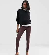 Mamalicious Maternity Coated Skinny Jeans With Bump Band In Burgundy Brown