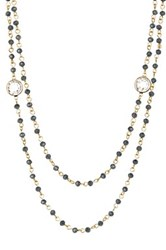 Nordstrom Rack Layered Rosary Glass Bead Necklace Blue
