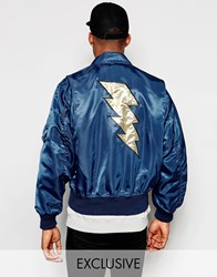Reclaimed Vintage Ma2 Bomber Jacket With Back Applique Navy