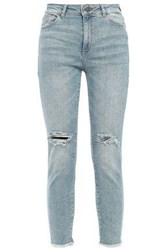 Dl1961 Woman Distressed High Rise Skinny Jeans Light Denim