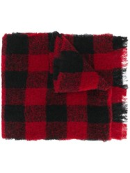 Woolrich Checkered Fringed Scarf