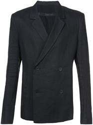 Thamanyah Double Breasted Blazer Linen Flax Black