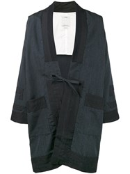 Visvim Kimono Coat Men Cotton Linen Flax Mohair Wool 4 Blue
