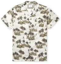 Onia Vacation Camp Collar Printed Cotton And Modal Blend Shirt Green